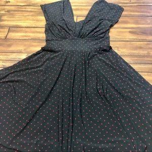 WHBM Black w/red polka dot A line dress 4